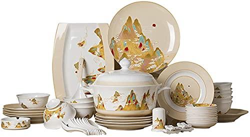 Cuenco de cerámica Juegos de vajilla de cerámica, Caja de Regalo Juego de vajilla de Porcelana de Hueso de 46 Cuenco de Cereal de Porcelana y Juego de Plato de Carne