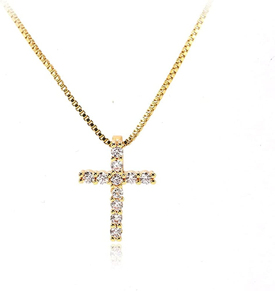 Small Cross Necklaces for Women Simulated Diamond Cross Pendant Dainty Cross Necklace Cubic Zirconia Cross Necklace for Women