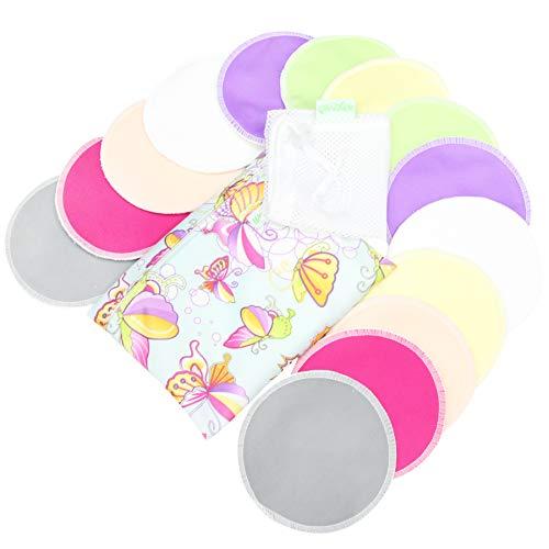 Bamboo Nursing Pads (14 Pack)+Laundry Bag & Travel Bag,2 Sizes:3.9/4.7inch Option - Washable &...