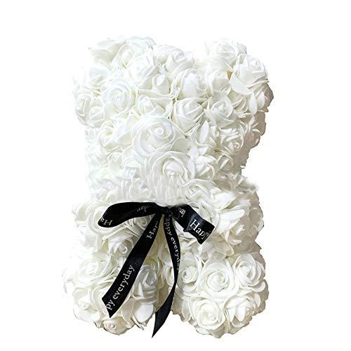 Ours en Rose 25 cm, Ours en Peluche à Rose Nounours en Rose, Cadeaux pour Elle, Femme, Petite Amie, mère Creative Fleur Ours Cadeau pour St.Valentin Anniversaire Mariage Anniversaires Noël