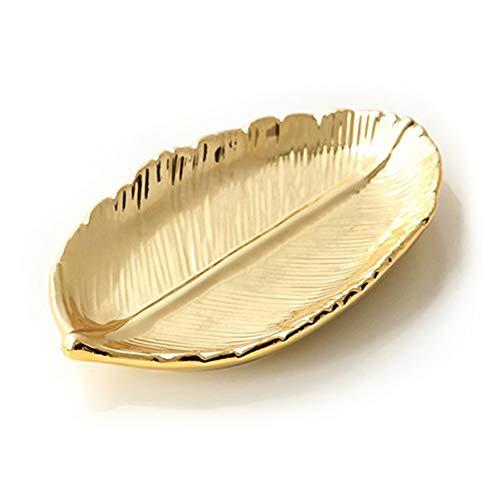 Lependor Cerámico Bandeja de placa para joyas Titular de la joyería Exhibición de la joyería Plato de anillo Organizador para llaves, teléfono, joyería, reloj, billetera, baratija (Dorado Hoja)