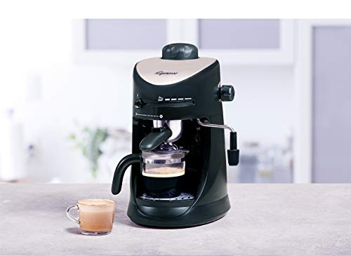 Capresso 303.01 4-Cup Espresso and Cappuccino Machine 3 SAFETY BOILER CAP: Built-in safety valve prevents hot steam from escaping GLASS CARAFE: Includes 4-cup glass carafe to brew up to four espressos at once FROTHER: Adjustable steam output for perfectly frothing or steaming milk for cappuccinos and lattes