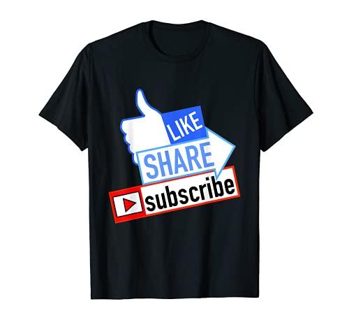 Social Media Like Share Subscribe T-Shirt