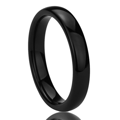 Prime Pristine Titanium Wedding Band Ring for Women Black High Polished Classy Domed Ring for Woman SZ: 9