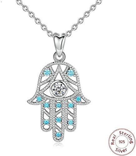 CAISHENY 100% 925 Plata esterlina Azul Cz Colgante de Mano Collar de Buena Suerte Encanto joyería Fina para Hombre Regalo del Día de San Valentín
