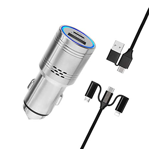 7PETAL New USB C Power Delivery car Charger Carbon Monoxide Alarm, Stainless Steel 2 Port car Charger with PD & Quick Charge 3.0 for iPhone Samsung Google Pixel etc.(Multifunction 5in1 USB Cable)