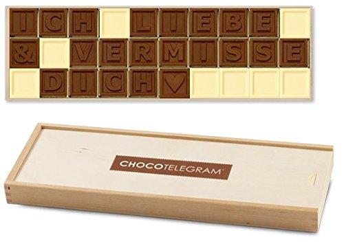 ICH LIEBE & VERMISSE DICH - ChocoTelegram | Schokoladenbotschaft | Ich liebe und vermisse dich Schokolade | Holzschachtel | Valentinstag | Liebesgeschenk | Liebesgeschenke | Frauen | Männer