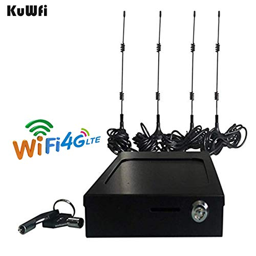 KuWFi Vehicle 4G LTE Car/Bus Carrier Router with SIM Card Slot LTE Car WiFi Wireless External Antenna Router Specially for Car/Bus