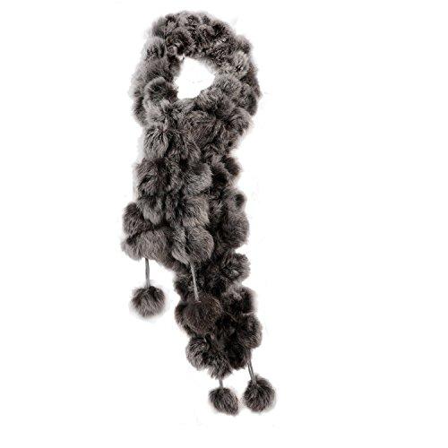 SODIAL(R)Nuovo Collare Scaldacollo Sciarpa Scialle Pelliccia Genuina Del Coniglio Morbida Inverno Indossare Grigio