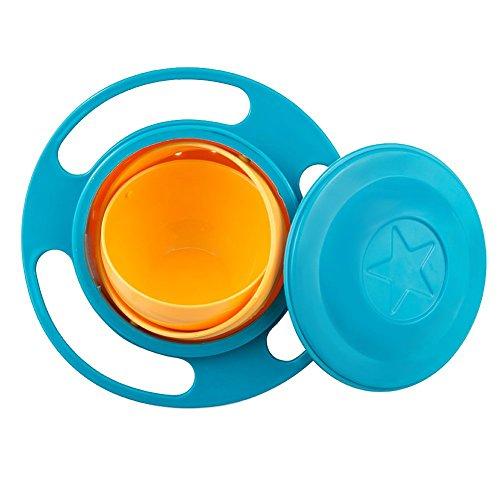 Binnan Ciotola del Giroscopio Ciotola Girevole Bambini in Plastica 360 Gradi Rotazione Ciotola Facile da Pulire Senza Versare Blu