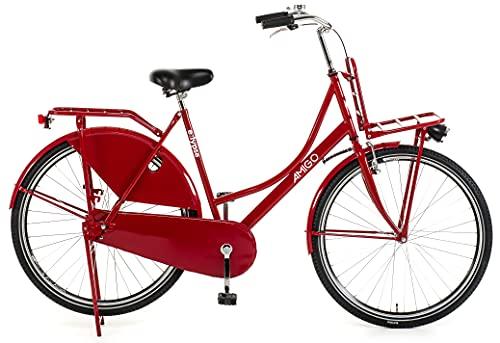 Amigo Eclypse - Cityräder für Damen - Damenfahrrad 28 Zoll - Geeignet ab 175-185 cm - Citybike mit Handbremse, Rücktritt, Gepäckträger Vorne, Beleuchtung und fahrradständer - Rot