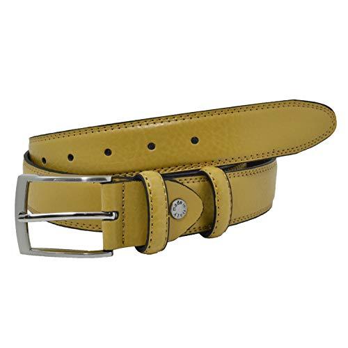 GRESEL, Cinturón para hombre y mujer, cuero genuino, ajustable, 3,5 cm de ancho Amarillo mostaza 115 (50-52)