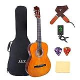 クラシック ギター 36インチ 3/4ナイロン 弦 小学生 大人用 ギター初級 セット バッグ ストラップ チューナー ピアノクロス ピック