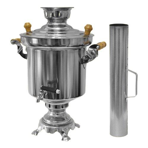 Samowar - mit Brennholz oder Kohlen 5.0 L aus Edelstahl