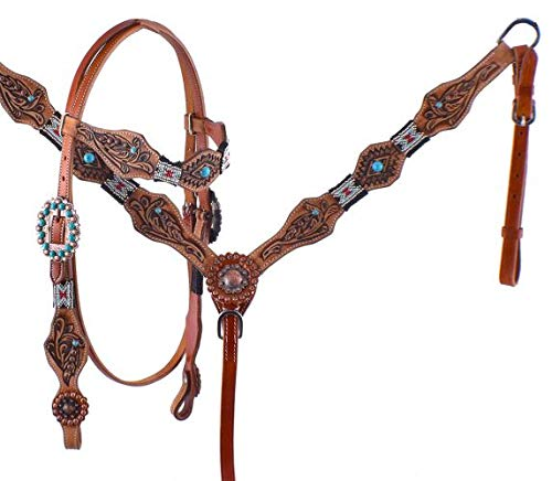 Showman Red & Turquoise Beaded Headstall & Breast Collar Set w/Tribal Tooling & Reins! New Horse TACK!