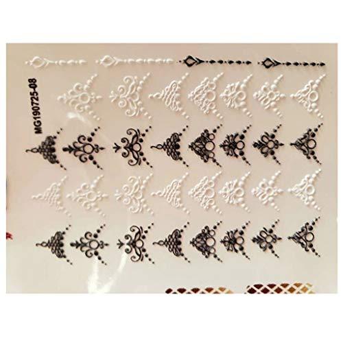 Hermione Hosmer 1Pcs Fleur Nail Art Feuille Holographique DéCoration 6D Gravé Fleur Autocollant Acrylique Ongles Autocollants Ongles En Relief Fleur Eau Nail Art Multicolor E
