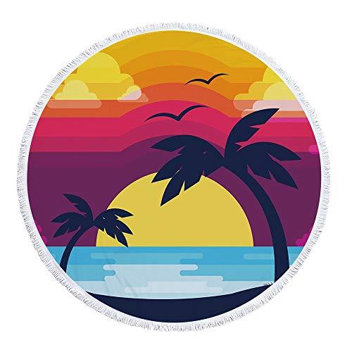 Toalla de Playa Sin Arena Estilo De Vacaciones Impresa De Microfibra Suave Ronda Circulares Tiro Alfombra De La Playa Tapiz Mantel Montado En La Pared De Yoga Mat Viajes De Toallas De Piscina Viaje Va