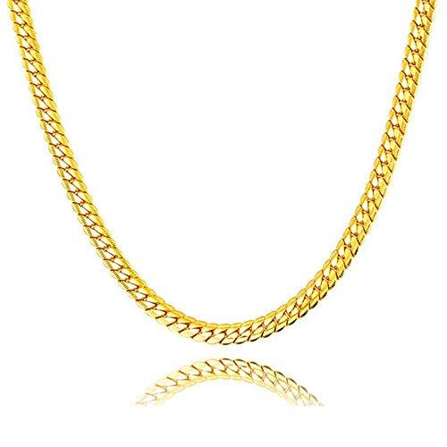 Liquidazione offerte, Fittingran Liquidazione Offerte Hip Hop Collana con ciondolo Uomo Donna Moda Luxury Filled Curb Collana con ciondolo cubano in oro (C)