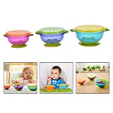 Xrten 3 Pcs Baby Spill Proof Colorful Suction Feeding Bowls, Sucker Bowls Set