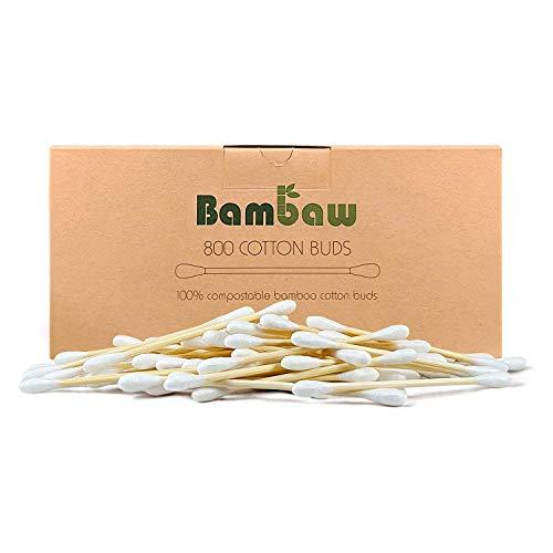 Bastoncillos para Oídos de Bambú | Bastoncillos Ecológicos | Palillos Limpiadores de Oídos | Bastoncillos de Madera | Biodegradables | Bote Dispensador Ecológico | 800 Unidades | Bambaw
