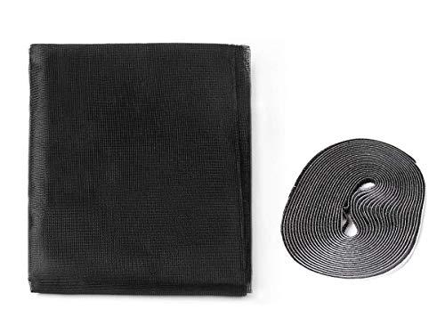 LEDLUX Kit de mosquitera para ventana grande, adhesivo de 150x300 cm con cinta de velcro, color negro (150X250cm)