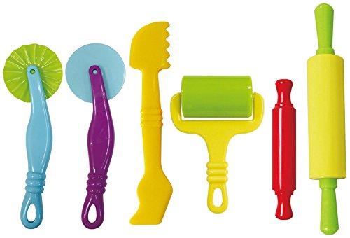 Leo & Emma Knetwerkzeug, Modellierwerkzeug Knete 6teilig hochwertig und robust für Kinderknete, Magic Sand, Knete Zubehör, Plastilin Werkzeuge, Küchenspielzeug Knete (bunt)
