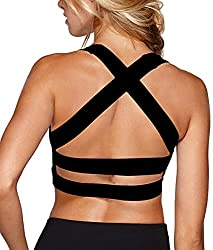 SHAPERX Women's Sports Bra Padded Breathable High Impact Support Criss Cross Back Dancing Bras