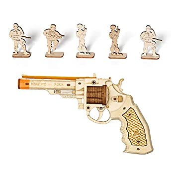 ROBOTIME 3D Wooden Puzzle Rubber Band Gun Model Toy DIY Craft Kits | Brain Teaser Gifts for Kids & Adults Corsac M60