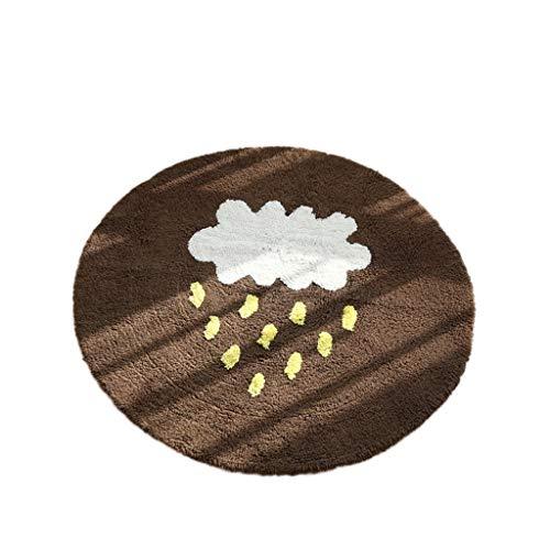 Kitchen mats Tapis de Cuisine met Amour Cloud Rain Rond Coton Chambre à Coucher de Chevet Tapis Tapis Absorbant Lavable à la Main, Marron, Diameter: 70cm