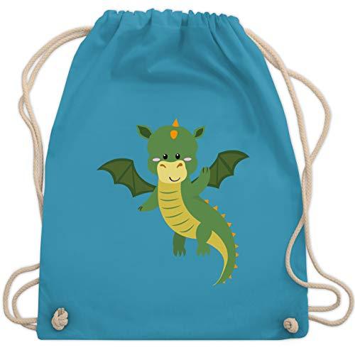 Tiermotiv Animal Print - Drache - Unisize - Hellblau - swimming bag - WM110 - Turnbeutel und Stoffbeutel aus Baumwolle