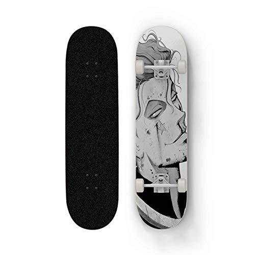 FWAHB Anime Skateboard for Hunter × Hunter: Hisoka, Maple Deck Anfänger Doppel Kick-Skateboard, Jungen und Mädchen, Verschiedene Entwürfe, Urlaub Geschenke