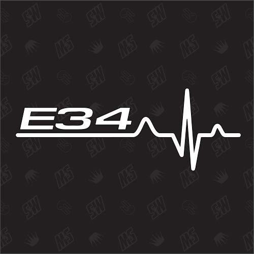 speedwerk-motorwear E34 Herzschlag - Sticker für BMW, Tuning Fan Aufkleber