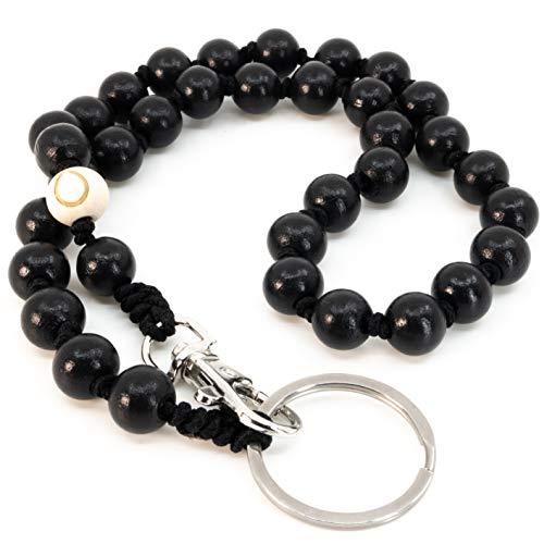 DROPLETSY Collier de perles en bois pour téléphone portable (court) – Porte-clés avec mousqueton et anneau porte-clés pour clés, portefeuille, pantalon (60 cm, The Sea Urchin)
