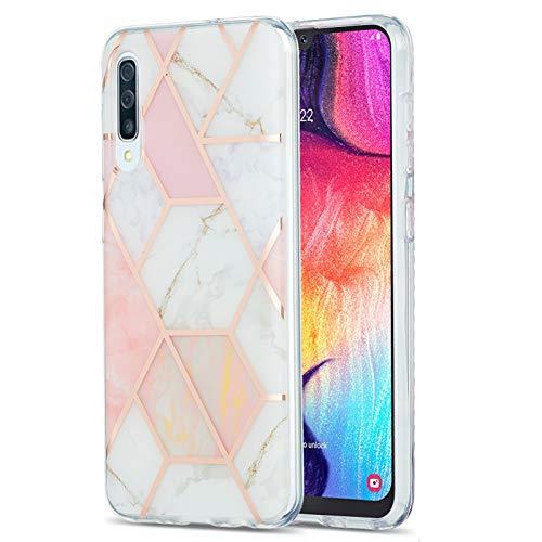 SEEYA Case Carcasa para Samsung Galaxy A50, diseño de rayas doradas, transparente, rígida, de doble capa, con protector de silicona y parachoques a prueba de golpes, color rosa y blanco