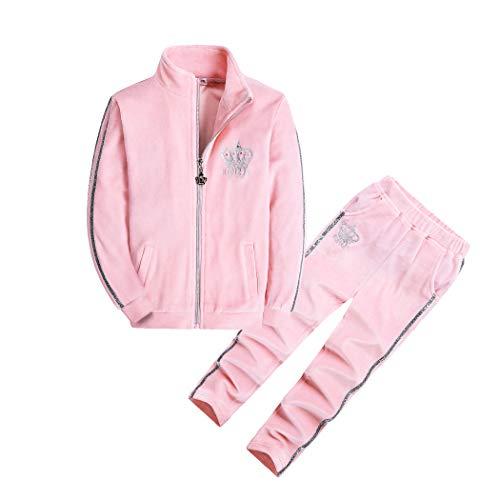 HOLIEBEE Mädchen Tracksuit 2-teiliges Jogger Trainingsanzug Velour Langarm-Top und Hose Set Kleidung für kleine Mädchen 3-14 Jahre