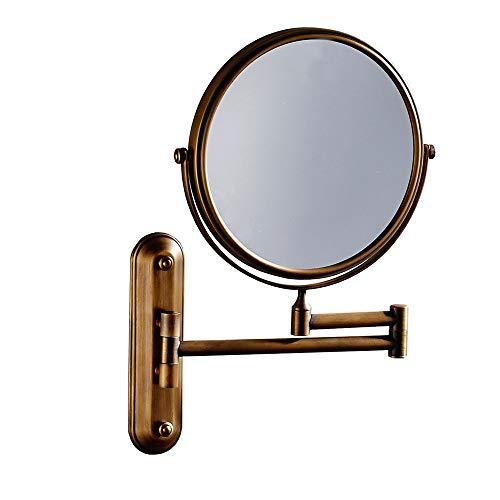 GOCF Miroir De Maquillage Portable Antique Bronze 3X Grossissement de Fixation Murale Miroir de Maquillage 8 Pouces pivotant Miroir de Maquillage réglable pour Le Maquillage De Comptoir