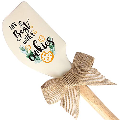 THREE HUMAN Life Is Best With Cookies Funny Silicone Spatula, Funny Baking Tool, Modern Farmhouse Kitchen Decor, Gift for Chef, Cookie Lovers, Sister, Mom, Pastry Chef