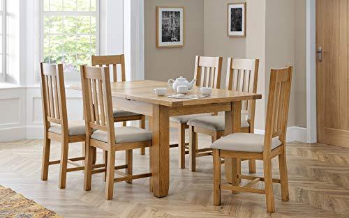Julian Bowen Hereford Set mit 2 Stühlen, Holz, Eiche/Taupe, Einheitsgröße