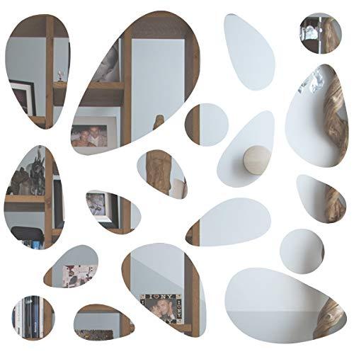 3D-Spiegel-Kieselstein-Wandaufkleber von SurePromise 18 Stück zum Aufkleben auf Spiegelfliesen, entfernbarer Aufkleber, Heimwerker, Rom, Kunst, Wanddekoration