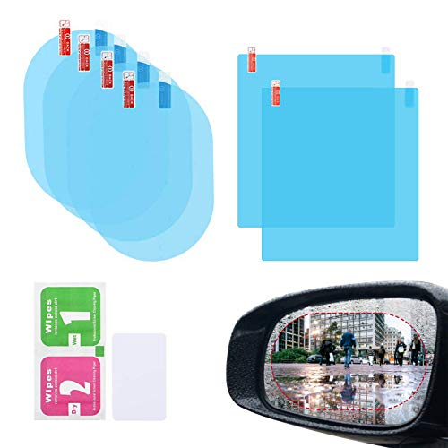 Elinala Auto RÜCkspiegel Folie, Regenfolie Auto, 6PCS Auto Rückspiegel und Auto Seitenglas HD Transparent Nano-Coating wasserdichte und Antibeschlagfolie