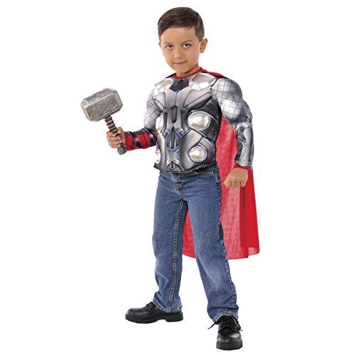 Avengers - Disfraz de Thor para niños, pecho musculoso y martillo, infantil 5-7 años (Rubie\'s 34104)