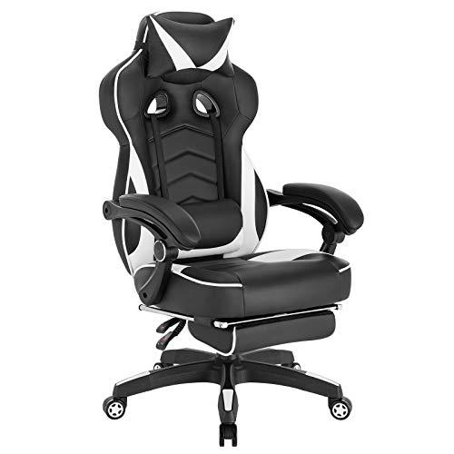 WOLTU Gaming Stuhl Racing Stuhl Bürostuhl Chefsessel Schreibtischstuhl Sportsitz mit Kopfstütze und Lendenkissen, mit Fußstütze, Kunstleder, höhenverstellbar, Weiß, BS71ws
