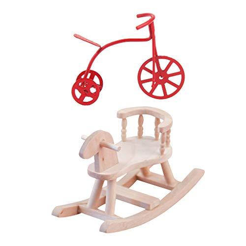 lahomia 1/12 Silla Mecedora Y Triciclo de Metal Bicicleta De