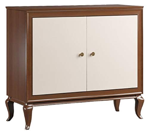 Casa Padrino aparador Art Deco de Lujo marrón Oscuro/Crema 108,7 x 43,5 x A. 95,5 cm - Armario de Madera Maciza con 2 Puertas - Muebles de Sala Art Deco