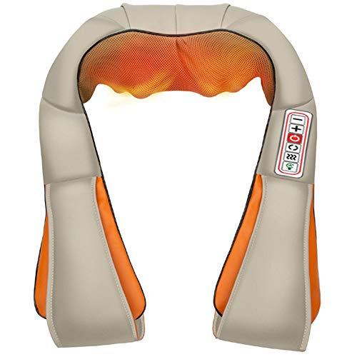 HGJDKSJ nekmassageapparaat met warmte, met verwarming, nekmassageapparaat, tweeweg-rotatie en intensiteitsaanpassing voor schouders, rug, taille, dijen, kuit en voet beige