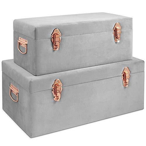 Beautify 2-er Set Aufbewahrungstruhen mit Samtbezug für Schlafzimmer, Wohnzimmer – Grau & Roségold Aufbewahrungsboxen