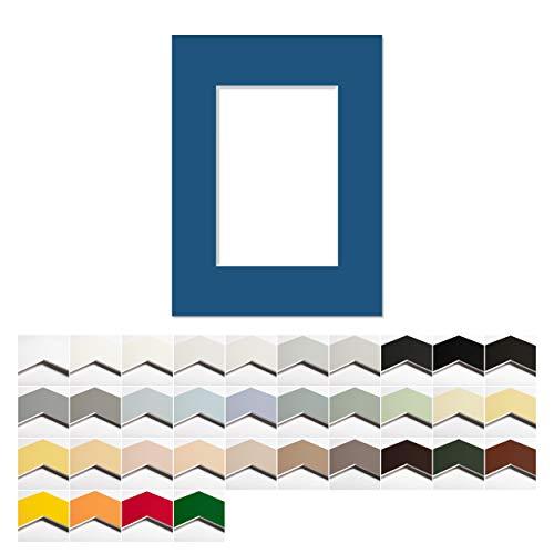 AlphaUVplus Passepartout mit Innenausschnitt nach Wunsch - Außen: 40x50cm - Premium Museumsqualität - 1,4mm stark - Zuschnitt nach Maß