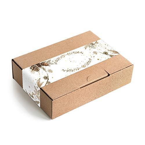 Logboek-uitgeverij kleine kerstdozen geschenkdoos + sticker beschrijfbaar bruin goud wit verpakking DHL maxibrief 180 x 130 x 45 mm Kerstmis doos kraftpapier 25 Stück