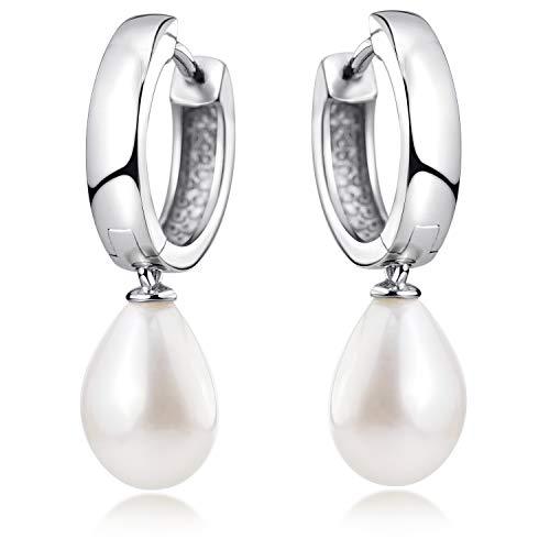 MATERIA Damen Creolen mit Anhänger Perle - 925 Sterling-Silber Perlenohrringe weiß rhodiniert 15mm SO-431