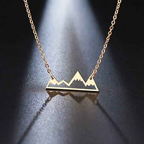 LPYBNW Damen Halskette Bergkette Minimalistisch Edelstahl Bergkette Schneekette Wandern im Freien Schmuck Reise-Berge Berge